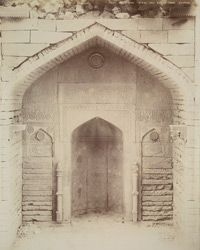 Tatta, Karachi District, Sindh. Mirza Jani Beg's Tomb, sculptured mihrab